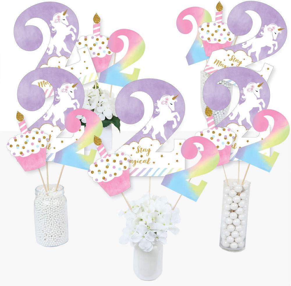 2nd Birthday Free shipping / New Rainbow Fashionable Unicorn Magical Second - P