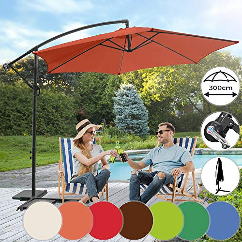 MIADOMODO Sonnenschirm Ø 300cm in Farbwahl - mit Handkurbel,Wasserabweisender, inkl. Ständer - Ampelschirm, Gartenschirm, Kurbelschirm, Marktschirm, Sonnenschutz für Balkon, Tarasse