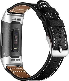 AISPORTS - Cinturino in pelle per Fitbit Charge 3, da donna, uomo, piccolo, grande, sportivo, con fibbia in metallo