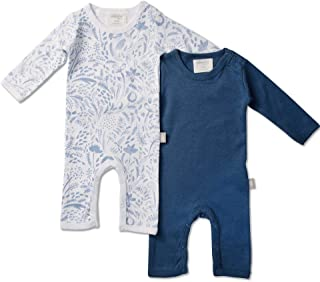 Babyushka Organic Long Sleeve AOP and Solid Jumpsuit 2 Pack, Blue, 00, 2 Count