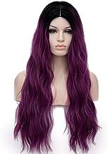 TopWigy Purple Wigs for Women Dark Purple Long Curly Wavy Wig Lavender Wig Black to Purple Ombre Wig 28 Inches Heat Resist...