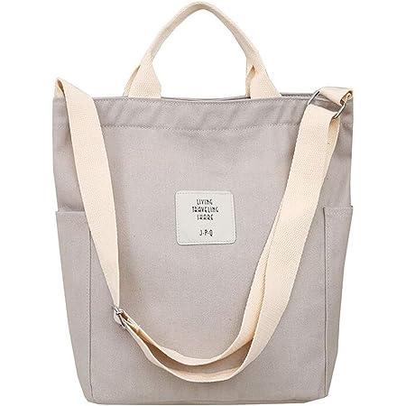 WANYIG Bolsa de Playa Grande Tote Bag Mujer Estilo Coreano Bolso de Mano Mujer con Cremallera Bolso de Escuela Crossbody Bag Lona con Correa Ajustable