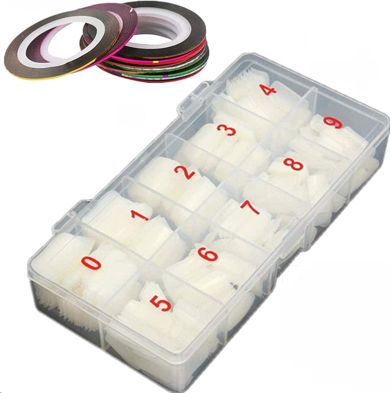LAKII 500 Piezas Uñas Falsas Artificiales de Acrílico Puntas de Uñas de Manicura con 12 rollos Multicolor 1 mm mate para uñas Striping Línea de cinta
