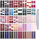 560 Pieces Nail Wraps Real Nail Polish Stickers Solid Color Nail Wrap Nail Polish Strips Decals DIY Glitter Nail Adhesive Full Wraps Art Set with Nail File for Women Girls