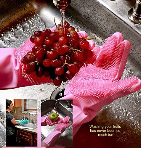 Product Image 6: MITALOO Magic Dishwashing Cleaning Sponge Gloves Reusable Silicone Brush Scrubber Gloves Heat Resistant for Dishwashing Kitchen Bathroom Cleaning Pet Hair Care Car Washing(Green)