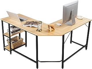 COSTWAY L-vormige bureau, kantoor/thuis bureau met twee opbergrek, hoogwaardige metalen frame, computer hoekbureau voor ka...