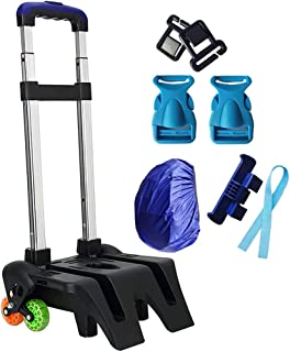 Wheeled Expandable Pull Rod Cart - Aluminum Alloy Handle Foldable Students Hand Truck for Backpack Travel Business Luggage Black