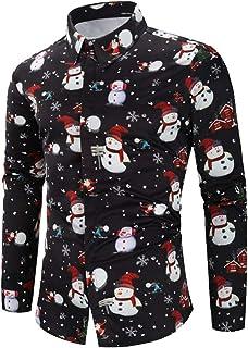 comprar comparacion DEELIN Navidad Camisa De Manga Larga, Los Hombres Copos De Nieve Casual Santa Candy Impresa Camisa De Navidad Blusa Superior