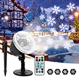 Christmas Projector Lights Outdoor Waterproof Snowflake LED Light Projector Lamp Rotating Snowfall Landscape Spotlights with Remote Control for Xmas Halloween Party Wedding Garden Indoor Outdoor Decor