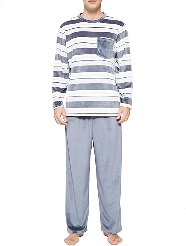 Women's and Men's Striped Pajamas Set Long Sleeve Shirt Top & Pants Sleepwear Pjs Matching Sets for Couples