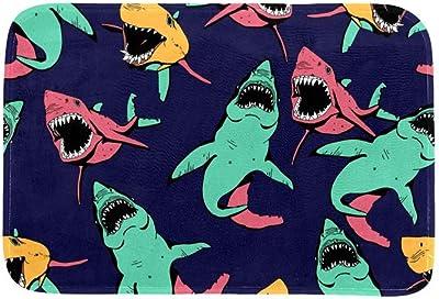 EGGDIOQ Doormats Angry Shark Sea Life Pattern Custom Print Bathroom Mat Waterproof Fabric Kitchen Entrance Rug, 23.6 x 15.7in