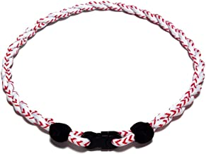 """Beautys 101 2 Ropes Weave Baseball Sports Tornado Titanium Necklace 20""""- Choose from Multiple Colors"""