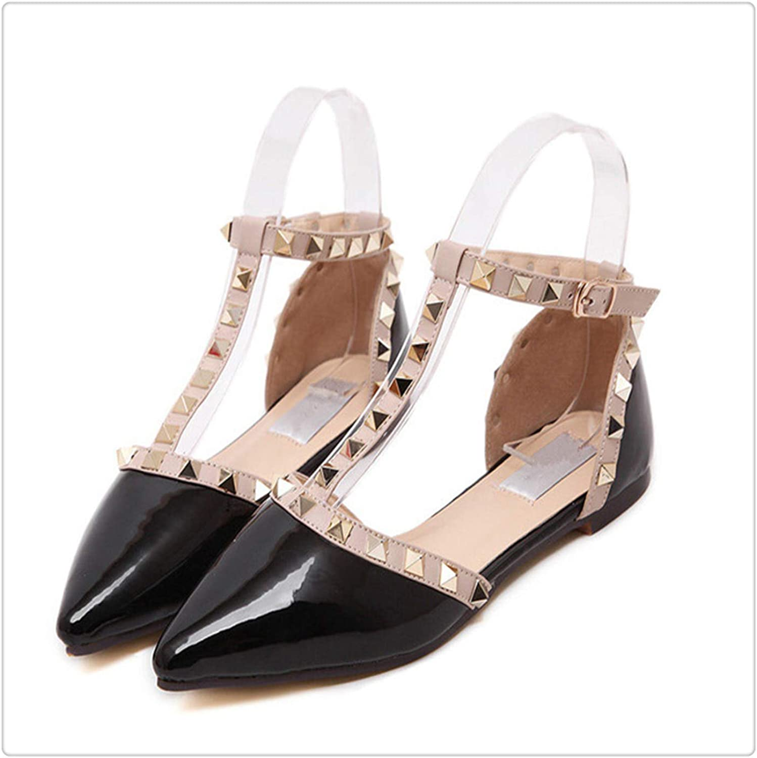 HROST& Flat Heel shoes Sexy Pointed Flats Buckle Belt Flat Sandals Women's shoes