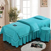 Beauty Salon Bed Skirt,Fumigation Physiotherapy Bed Cover Mattress for Beauty Salon with Face Rest Hole Zipper Design- 4-P...