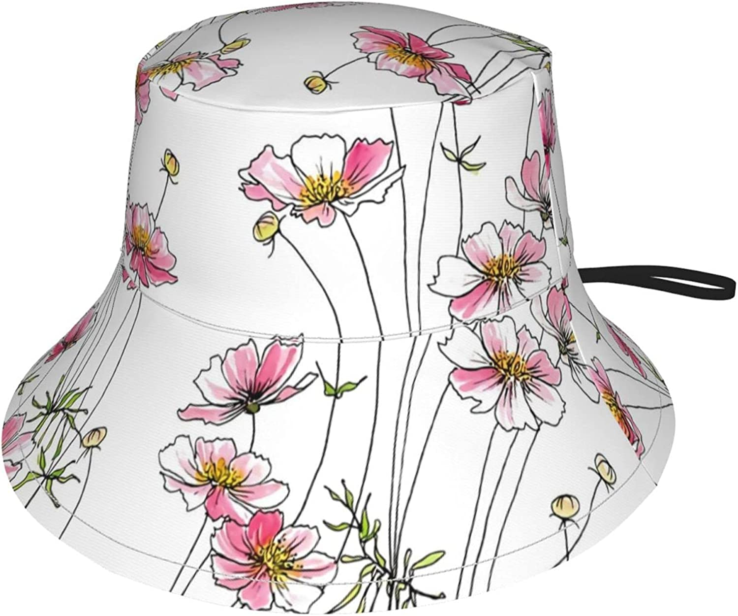 Pink Cosmos Flowers Kids Directly managed store Bucket Boys for Protection Hat Sun Sales