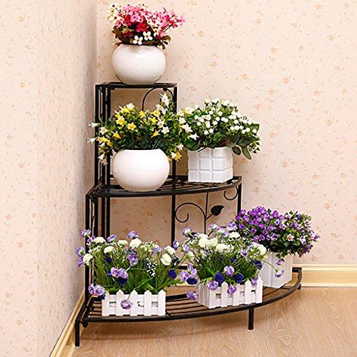Huajia Le Salon Balcon Sol en Bois Massif Bois Multicouches Fleur Fleur étagère intérieur Vert Chlorophytum Landing Flower Stand (Couleur : Noir, Taille : 85cm)