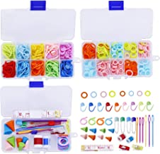 381 Pieces Stitch Ring Markers and Colorful Knitting Crochet Locking Counter Stitch Needle Clips + Weaving Tools Knitting ...