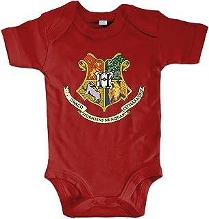 net-shirts Organic Baby Body mit Hogwarts Wappen 02 Aufdruck Spruch Motiv süß Cute Strampler aus Bio-Baumwolle