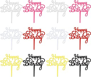 obmwang 12 Pack Acrylic Cake Topper Happy Birthday Cake Topper Colorful Cake Decorations for Birthday Party Supply, 6 Colors
