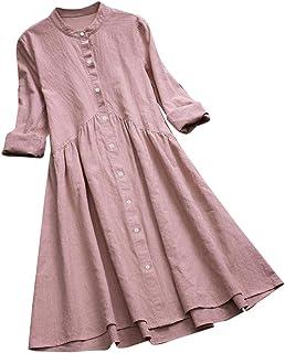 COZOCO Camisa Blusa Vintage para Mujer Vestido túnica Vestido Largo con Cuello Redondo Botón Plisado Manga Larga Casual Mi...