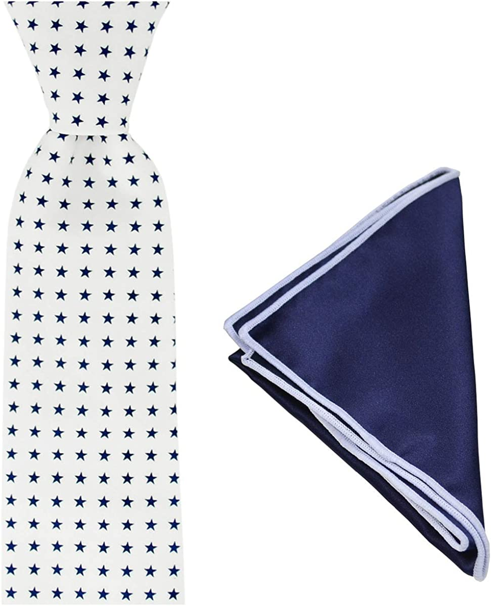 Star Printed Cotton Tie and Pocket Square Set by TiePassion