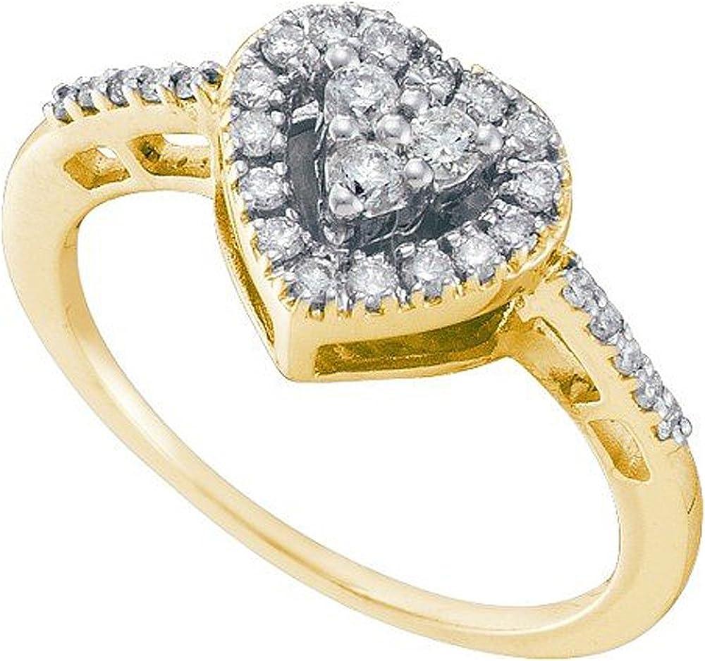 Dazzlingrock Collection 0.35 Carat (ctw) 14k Round White Diamond Ladies Bridal Heart Promise Ring 1/3 CT, Yellow Gold