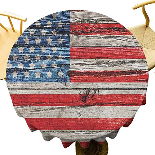 VICWOWONE USA Mantel redondo de 70 pulgadas, función de mantel de 44 de julio Día de la Independencia pintado panel de madera con aspecto de pared imagen Freedom Feel comfortable Blue Red Beige