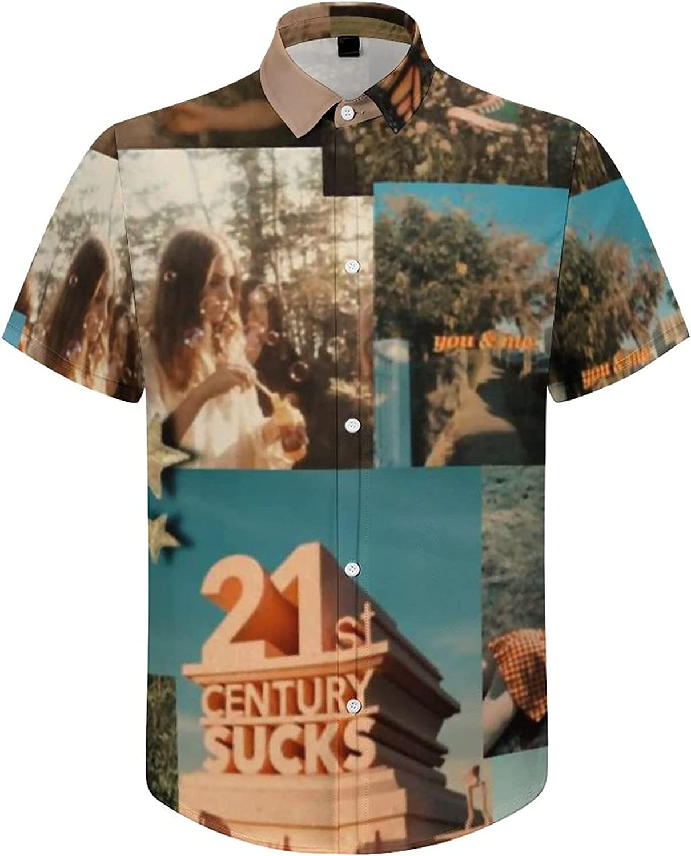 Hawaiian Shirts for Men Go After Dream Retro USA Printed Beach Shirt Hawaiian Shirts