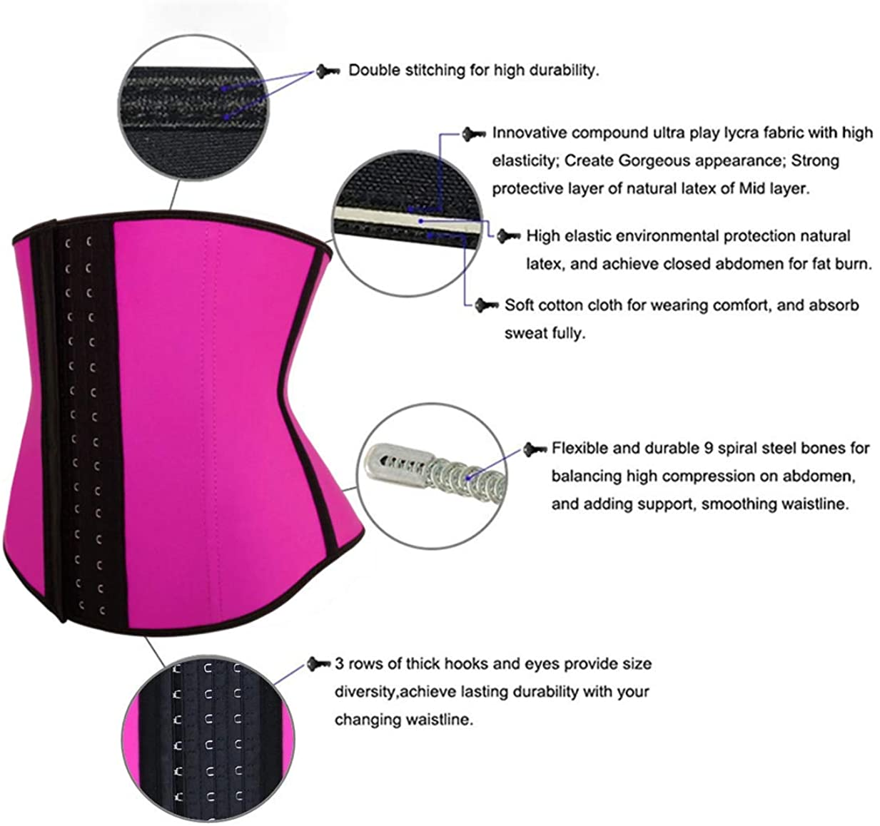 Latex Girdle Waist Trainer for Women Lose Weight Belly Fat Hourglass Body Shaper Corset Postpartum Recovering Back Pain