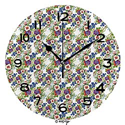 AmaUncle 10 Inch Round Face Silent Wall Clock Floral Colorful Mallow Flowers Pattern On White Background Vector Unique Contemporary Home and Office Decor No22155