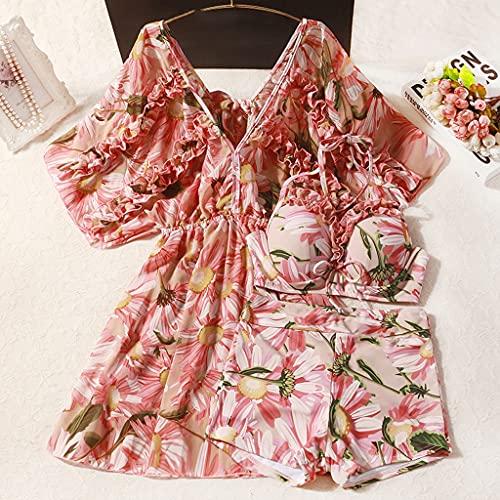 NMJKH Estate Bikini Fata Fan Gonna floreale Copertura conservatrice La pancia era più sottile Costume da bagno diviso in tre pezzi di grandi dimensioni Donna (Color : B, Size : XL code)