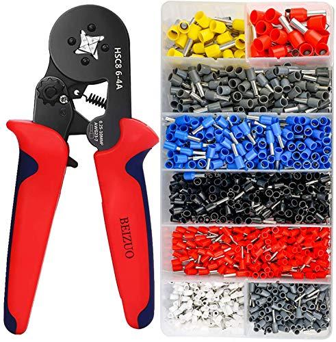 Alicates de crimpado, kit de herramientas de crimpado de férula, kit de herramientas de crimpado de alambre de trinquete autoajustable AWG23-7
