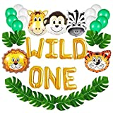 unbrand Gresunny Dschungel Geburtstag Dekorationen Wild One Kindergeburtstag Deko Tieraluminiumfolie Ballone mit Palmblättern Luftballons Safari Wald Tier für Jungen Mädchen Kinder Geburtstagsdeko