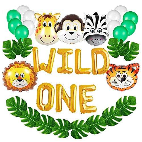 Gresunny selva fiesta de cumpleaños decoracion niño Wild One globos de papel de aluminio hojas palma globos de latex y safari bosque animal globos para infantil cumpleaños baby shower decoración