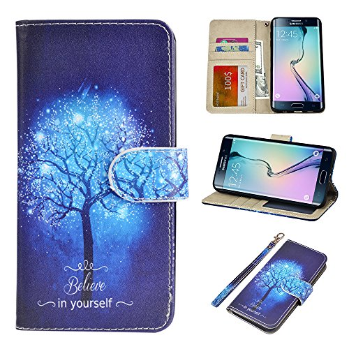 UrSpeedtekLive Galaxy S6 Edge Plus Wallet Case, Premium PU Leather Wristlet Flip Case Cover with Card Slots & Stand Compatible Samsung Galaxy S6 Edge Plus, Believe in Yourself