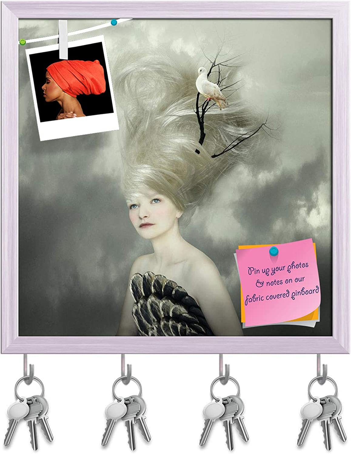 Artzfolio Female Model with A White Dove On A Branch Key Holder Hooks   Notice Pin Board   White Frame 16 X 16.2Inch