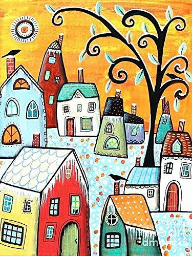 5D DIY diamante pintura casa abstracta taladro completo bordado redondo dibujos animados decoración del hogar diamante arte A1 45x60cm