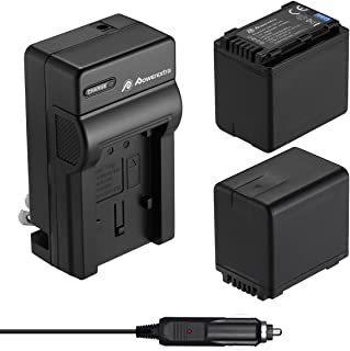 Powerextra 2 Pack Replacement Batteries and Charger for Panasonic VW-VBT380 and Panasonic HC-V250, HC-V380, HC-V510, HC-V520, HC-V710, HC-V720, HC-V750, HC-V770, HC-VX870, HC-VX981K, HC-WXF991K