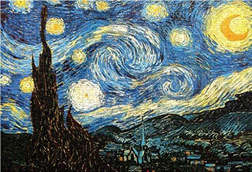 Rompecabezas Van Gogh-Noche Estrellada Pintura Rompecabezas 1000 Piezas,Rompecabezas de cartón Rompecabezas de Madera Educativo Juego para Adulto Niño Juguete para aliviar el estrés Juego Intelectual