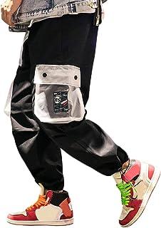 Pantalones Carga Hombre Moda Callejera Urbana, Pantalón de Camuflaje Casual Deportivo Estilo Hip Hop para Adolescentes, Jóvenes y Niños, Pantalones Sueltos Color Contraste - Diseño Original