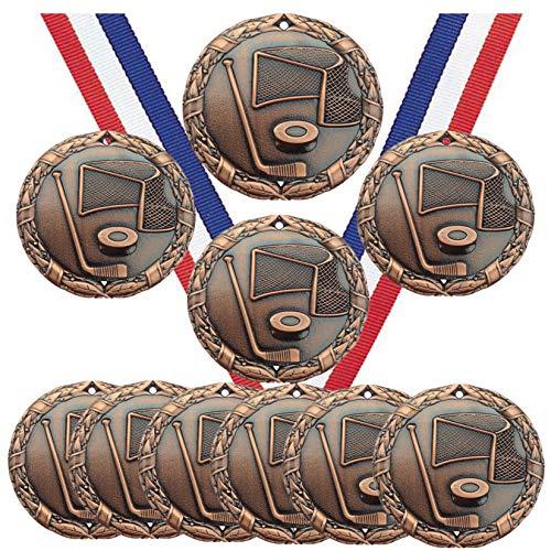 Eishockey-Medaillen Pokal Champion Teilnehmer Preis mit Halsbändern (10 Stück)