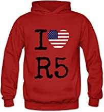 DASY Women's O-neck I Love R5 Band Hoodies Small Red