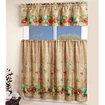 Amazon Com Ehp 3 Piece Printed Kitchen Curtain Set 1 Valance 2 Tiers Fruits Kitchen Dining