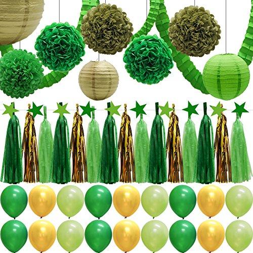 43pcs Green Party Decorations Set, Paper Lanterns, Balloons, Tassel Garland Banner, Tissue Pom Poms Flowers, Clover Garland, Paper Garland for St. Patrick's Day Birthday Baby Showers Bridal Shower