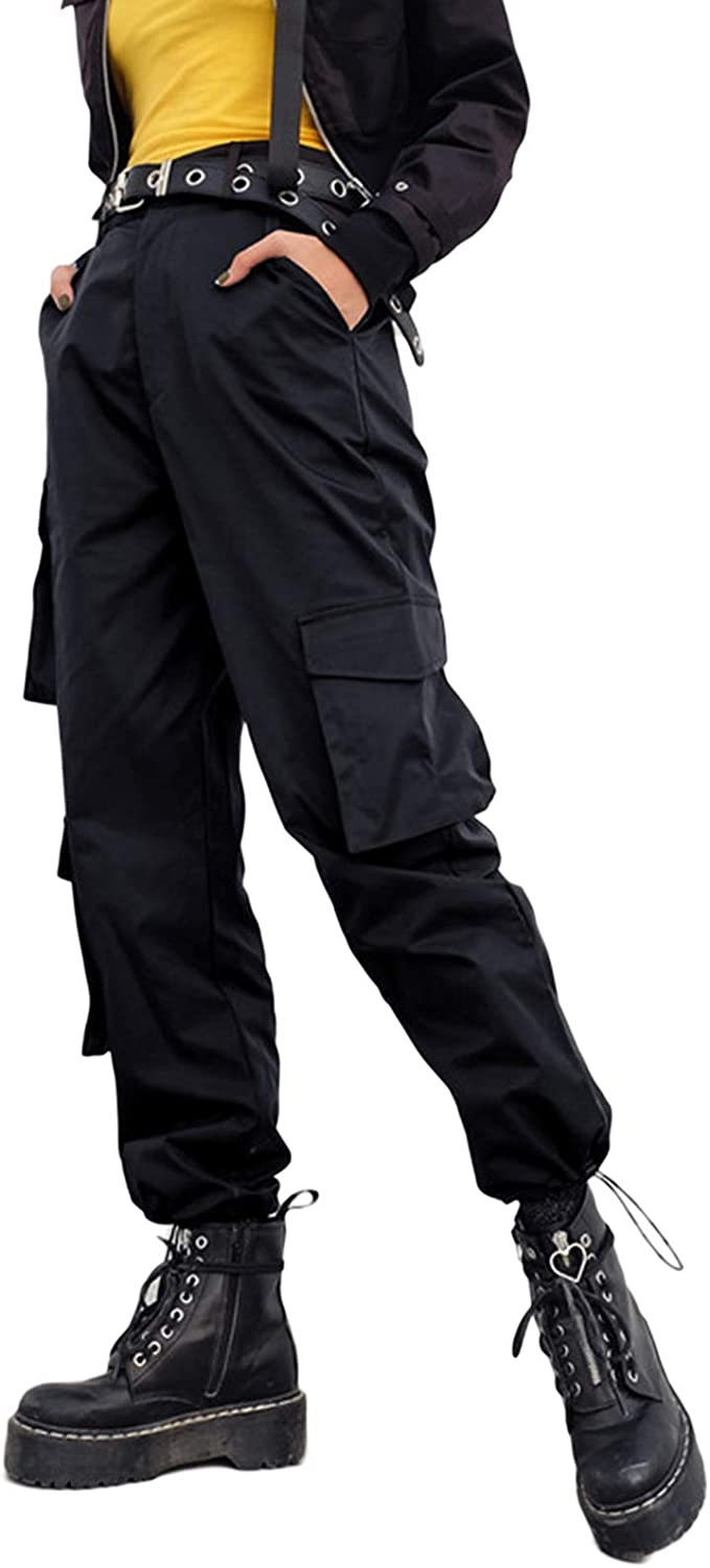 Thaisu Women Baggy Cargo Pants, Casual Streetwear Solid Color Elastic High Waisted Jogger Pants with Pockets