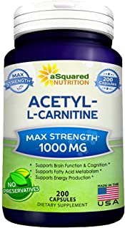 Pure Acetyl L-Carnitine 1000mg Max Strength - 200 Capsules - High Potency Acetyl L Carnitine HCL (ALCAR) Supplement Pills to Support Energy, Brain Function & Fatty Acid Metabolism