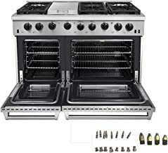 Thor Kitchen 48 inch Freestanding Pro-Style Double Oven Professional Gas Range with 6.8..