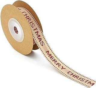 Azude Merry Christmas Ribbon Thin Burlap Curling Gift Ribbon, 15 mm x 5 ft
