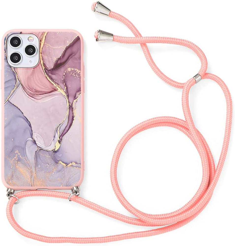 Yoedge Crossbody Case for OnePlus 8T (5G), Neck Cord Phone Case with Adjustable Lanyard Strap, Soft TPU Silicone with Cute Pattern Cover Compatible with OnePlus 8T 5G [6.55