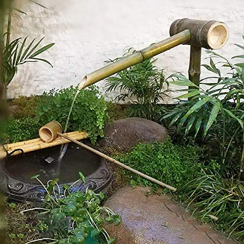 BABYCOW Fuente de Agua de bambú, jardín japonés al Aire Libre, decoración Moderna, 100% Hecho a Mano